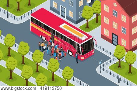 Isometric Fragment Of City Landscape With Group Of Tourists Standing Near Red Excursion Bus Vector I