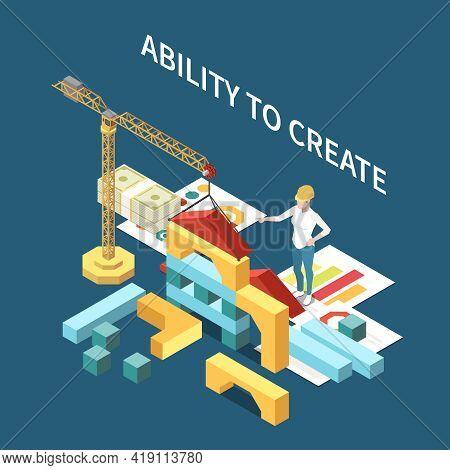 Entrepreneur Isometric Composition With Ability To Create Symbols Vector Illustration