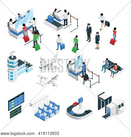 Airport Terminal Isometric Set With Airplanes Flight Crew Passengers Check In Security Gates Luggage