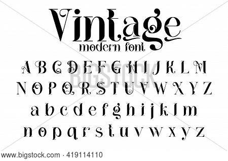 Vintage Decorative Font - Cathleen. Retro Typerface. Elegance Serif Alphabet. Vector Font For Label,