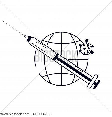 Covid-19 Vaccine Line Logo. Coronavirus Immune. Syringe. Pandemic Vaccination Proof