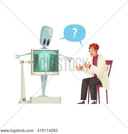 Confused Doctor Or Scientist Doing Xray Of Cute Humanoid Cartoon Vector Illustration