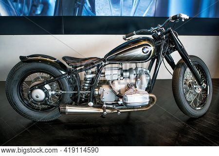 Munich, Germany - September 14, 2018: A Bmw Motorcycle In The Gallery Of Bmw Museum.