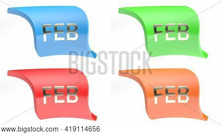Feb For February Colorful Icon Set - 3d Rendering Illustration