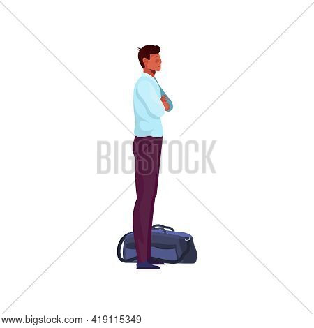 Migrant Workers Flat Composition With Male Character Standing With Bag Vector Illustration