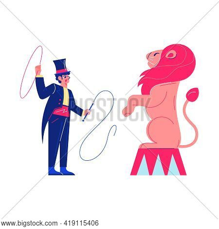 Circus Funfair Composition With Human Character Of Lion Tamer With Hoop Thong And Standing Lion Vect