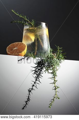 Cocktail Gin Tonic With Lemon, Juniper Branch, And Ice On A Dark Reflective Background.