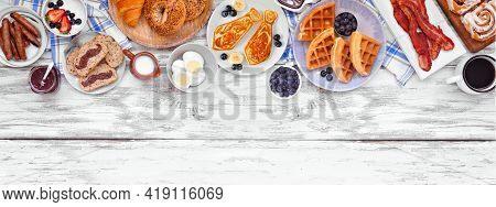 Fathers Day Brunch Top Border. Above View On A White Wood Banner Background. Tie Pancakes, Mustache