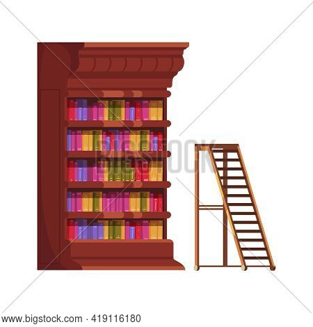 Old Library Interior Composition With Isolated Image Of Vintage Book Cabinet With Ladder Vector Illu