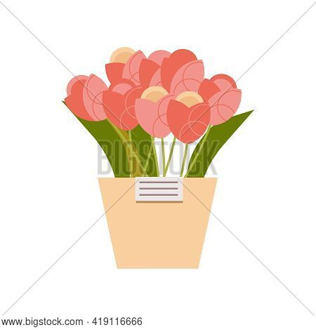 Floristics Flat Composition With Isolated Image Of Pot With Pink Flowers And Tag On Blank Background
