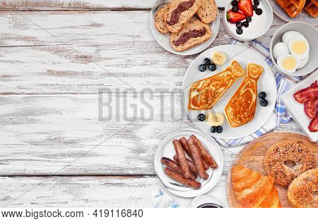 Fathers Day Brunch Side Border. Top View On A White Wood Background. Tie Pancakes, Mustache Toast An