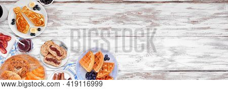 Fathers Day Brunch Corner Border. Above View On A White Wood Banner Background. Tie Pancakes, Mustac