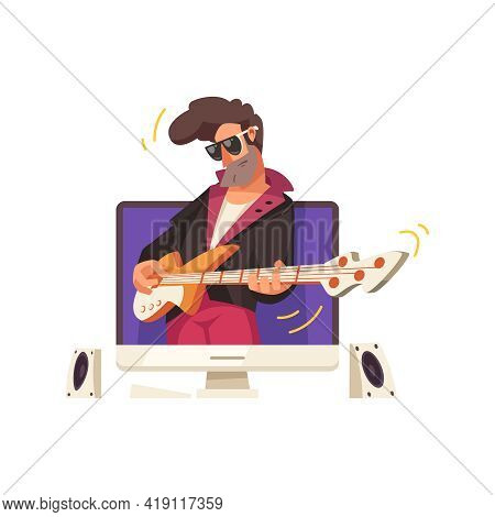 Online Music Content Flat Icon With Performance Of Rock Guitarist Vector Illustration
