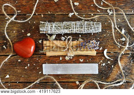 Healing Smudge Sticks With Selenite And Red Jasper Heart.