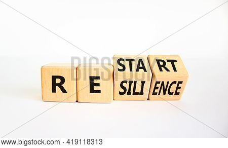 Restart And Resilience Symbol. Turned Cubes And Changed The Word 'restart' To 'resilience'. Beautifu