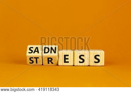 Sadness And Stress Symbol. Turned Cubes And Changed The Word 'stress' To 'sadness'. Beautiful Orange