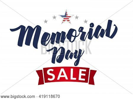 Happy Memorial Day USA sale banner. Isolated abstract graphic design template. US colors. Calligraphic letters. Decorative brush calligraphy, American flag frame. Creative advertising shopping card.