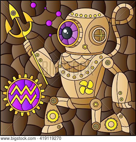 Illustration In The Style Of A Stained Glass Window With An Illustration Of The Steam Punk Sign Of T