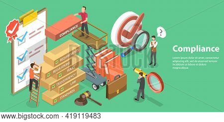 3d Isometric Flat Vector Conceptual Illustration Of Policies And Regulations