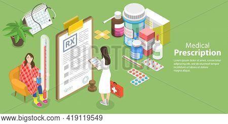 3d Isometric Flat Vector Conceptual Illustration Of Rx, Medical Prescription