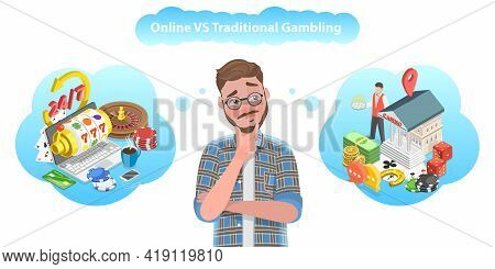 3d Isometric Flat Vector Conceptual Illustration Of Online Gambling Vs Offline Gambling