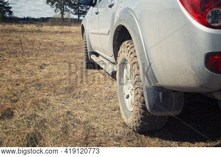 Mud Rubber For Car For Off-road Driving. Travel By Car On The Off-road.