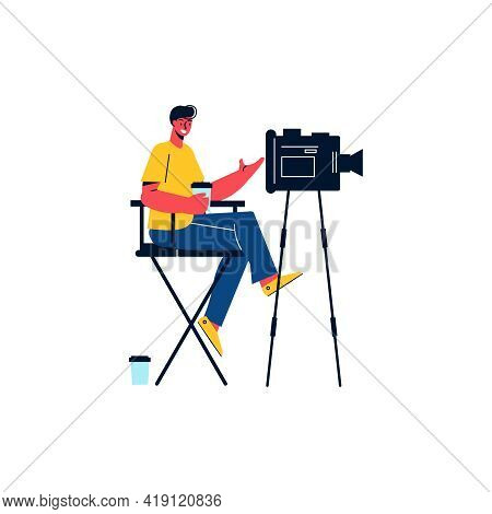 Happy Cameraman With Cup Of Coffee And Professional Camera Flat Icon Vector Illustration