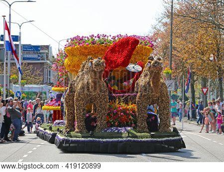 Sassenheim, Netherlands - April 21, 2018: 100 Years Bloemencorso Bollenstreek Flower Parade Traditio