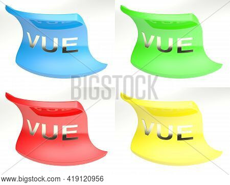 Vue Colorful Icon Set Isolated On White Background - 3d Rendering Illustration