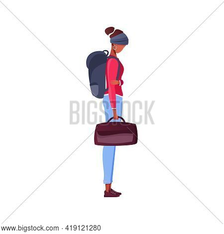 Migrant Workers Flat Composition With Female Character Standing With Backpack And Bag Vector Illustr