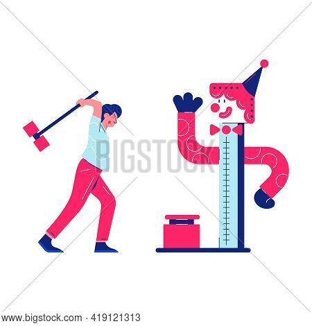 Circus Funfair Composition With Human Character Of Man With Hammer Vector Illustration