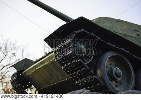 Monument With The Soviet T-34 Tank In Memory Of The Soldiers Of The Great Patriotic War. Monument To