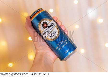 Tyumen, Russia-february 13, 2021: Mecklenburger In An Aluminum Can. Beer Of Northern Germany With A