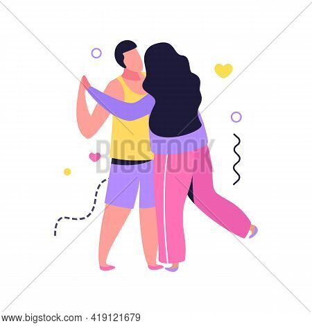 Hug Day Flat Composition With Human Characters Of Loving Couple Dancing Embracing Together Vector Il