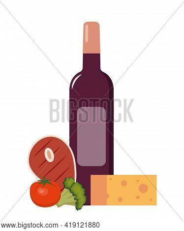 Red Wine And Grilled Steak With Vegetables. Set Of Products For Dinner. Flat Style Vector Illustrati