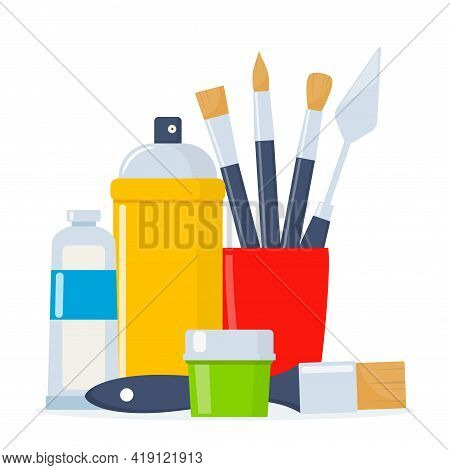 Painting Tools Composition. Various Art Supplies. Drawing Creative Materials Illustration For Worksh