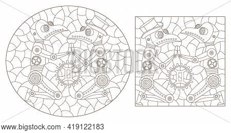Set Of Contour Illustrations In The Style Of Stained Glass With Steam Punk Signs Of The Zodiac Gemin