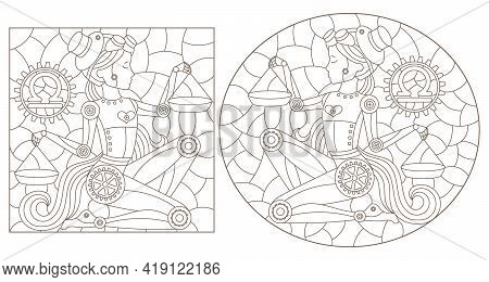 Set Of Contour Illustrations In The Style Of Stained Glass With Steam Punk Zodiac Signs Libra, Dark