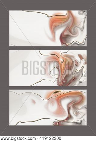 Pastel Fluid Marble Agate Pattern, Gold Texture, Abstract Background. Set Of Different Designs. Mode