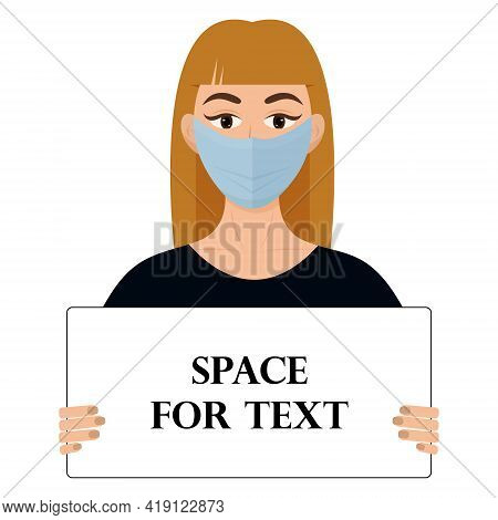 A Girl Holds A Poster With The Text. A Piece Of Paper In The Girl's Hands. Vector Illustration.