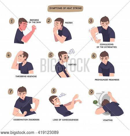 Symptoms Of Heart Stroke Set, Man Suffering From Redness Of The Skin, Nausea, Convulsions Of The Ext