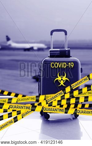 Flight Canceled Because Of The Pandemic Coronavirus Covid-19 Concept. Collage With Caution Yellow An