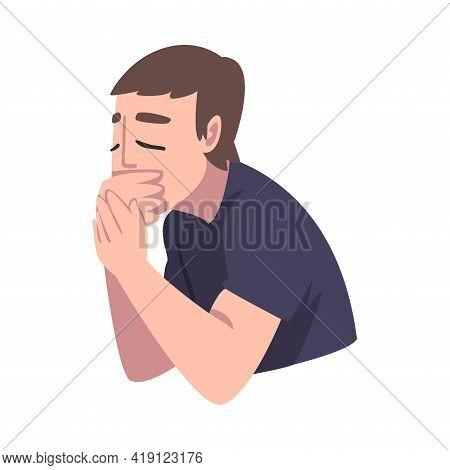 Man Suffering From Nausea, Symptom Of Heart Stroke Cartoon Vector Illustration