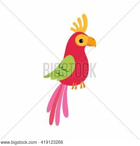 Cute Colorful Parrot Bird, Exotic Tropical Fauna Element, African Savanna Inhabitant Cartoon Vector