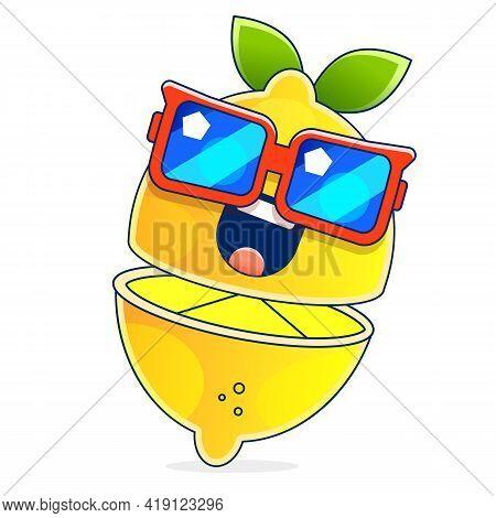 Yellow Lemon Vector Icon Illustration Isolated On White Background. Lemon Icon Eps. Lemon Icon Clip