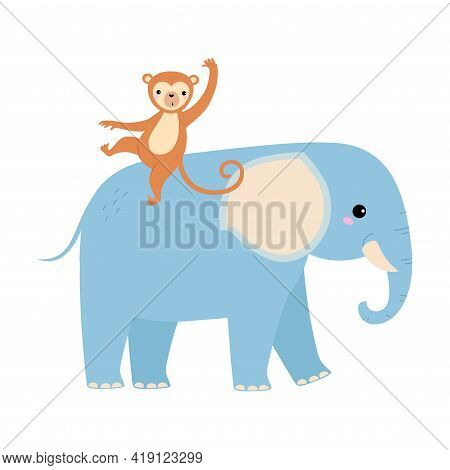 Cute Elephant And Monkey Baby Animals, Exotic Tropical Fauna Element, African Savanna Inhabitant Car