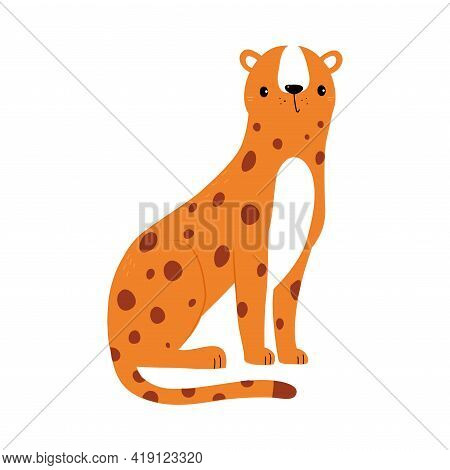 Cute Tiger Baby Animal, Exotic Tropical Fauna Element, African Savanna Inhabitant Cartoon Vector Ill