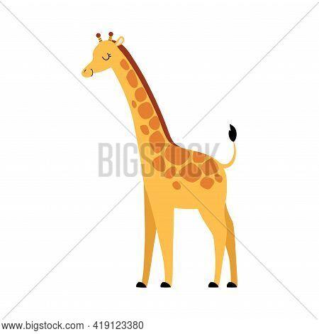 Cute Giraffe Animal, Exotic Tropical Fauna Element, African Savanna Inhabitant Cartoon Vector Illust