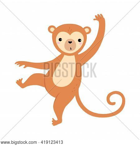 Cute Funny Monkey Baby Animal, Exotic Tropical Fauna Element, African Savanna Inhabitant Cartoon Vec