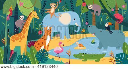 Cute African Animals On Exotic Tropical Landscape, Savanna Inhabitants Cartoon Vector Illustration